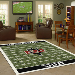 San Diego State University Football Field Rug  College Area Rug - Fan Rugs