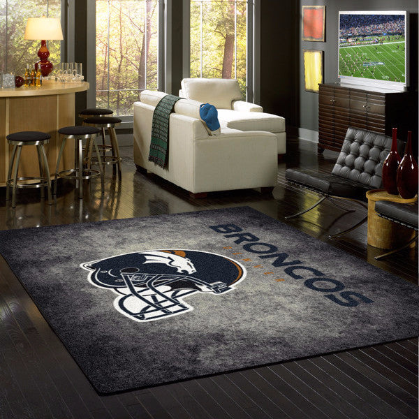 Denver Broncos NFL Team Distressed Rug  NFL Area Rug - Fan Rugs