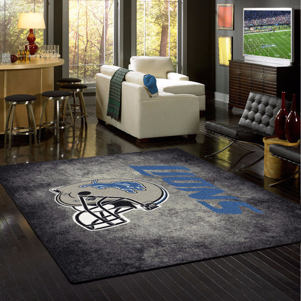Detroit Lions NFL Team Distressed Rug  NFL Area Rug - Fan Rugs