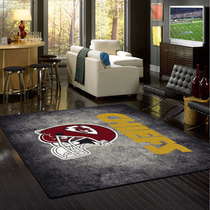Kansas City Chiefs NFL Team Distressed Rug  NFL Area Rug - Fan Rugs