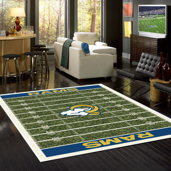 Los Angeles Rams NFL Football Field Rug  NFL Area Rug - Fan Rugs