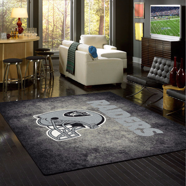 Las Vegas Raiders NFL Team Distressed Rug  NFL Area Rug - Fan Rugs