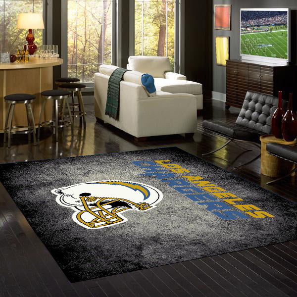 Los Angeles Chargers NFL Team Distressed Rug  NFL Area Rug - Fan Rugs