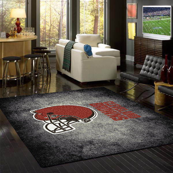 Cleveland Browns NFL Team Distressed Rug  NFL Area Rug - Fan Rugs