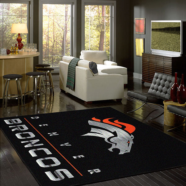 Denver Broncos Chrome Area Rug  NFL Area Rug - Fan Rugs