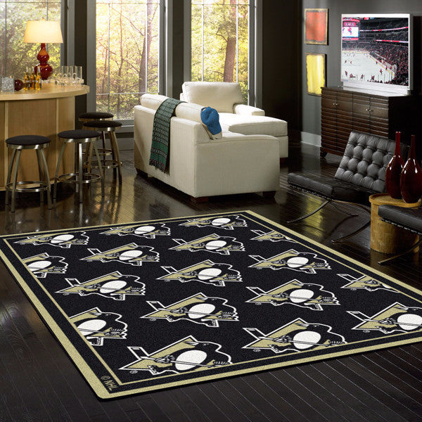 Pittsburgh Penguins Rug NHL Team Repeat Area