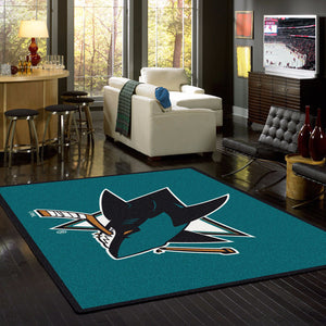 San Jose Sharks NHL Team Spirit Rug  NHL Area Rug - Fan Rugs