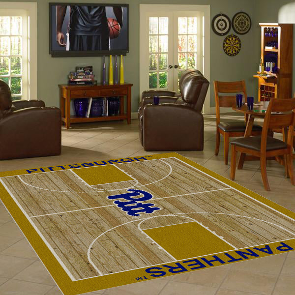Pittsburgh University Basketball Court Rug  College Area Rug - Fan Rugs
