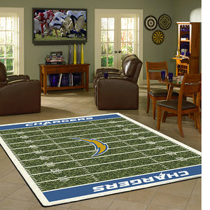 Los Angeles Chargers NFL Football Field Rug  NFL Area Rug - Fan Rugs