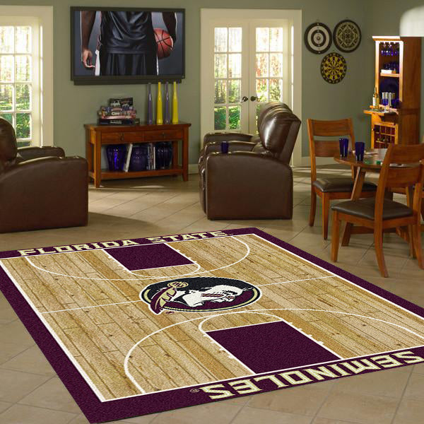 Florida State University Basketball Court Rug  College Area Rug - Fan Rugs