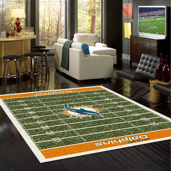 Miami Dolphins NFL Football Field Rug  NFL Area Rug - Fan Rugs