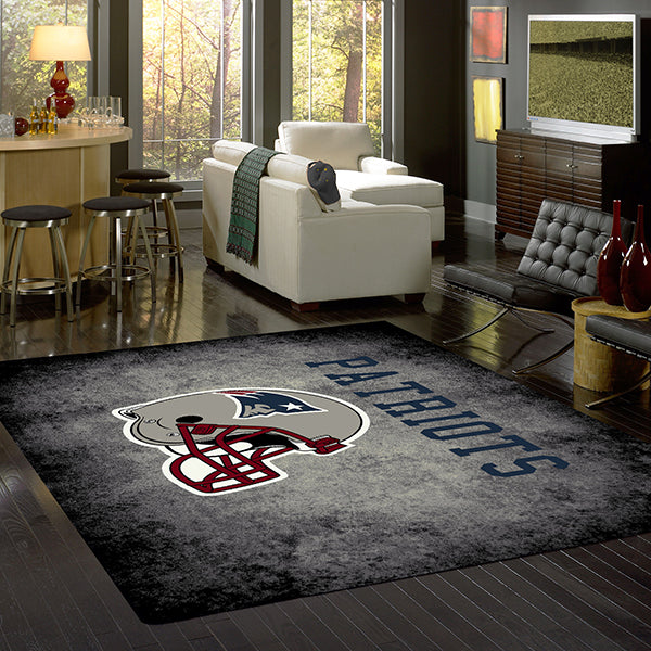 New England Patriots NFL Team Distressed Rug  NFL Area Rug - Fan Rugs