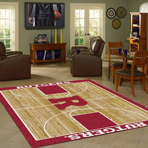Rutgers University Basketball Court Rug  College Area Rug - Fan Rugs