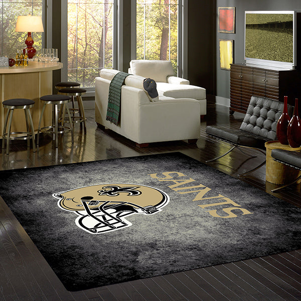 New Orleans Saints NFL Team Distressed Rug  NFL Area Rug - Fan Rugs