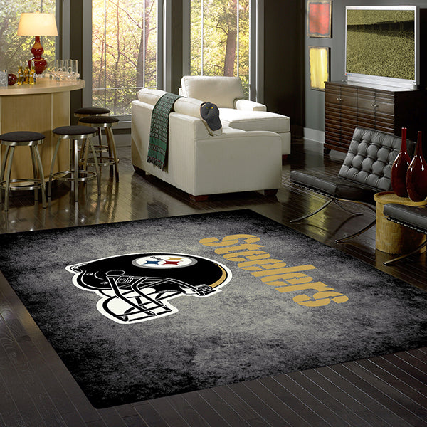 Pittsburg Steelers NFL Team Distressed Rug  NFL Area Rug - Fan Rugs