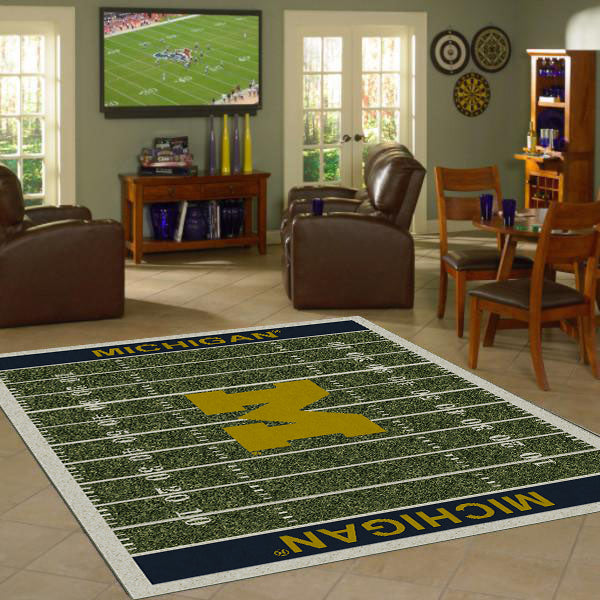 University of Michigan Football Field Rug  College Area Rug - Fan Rugs