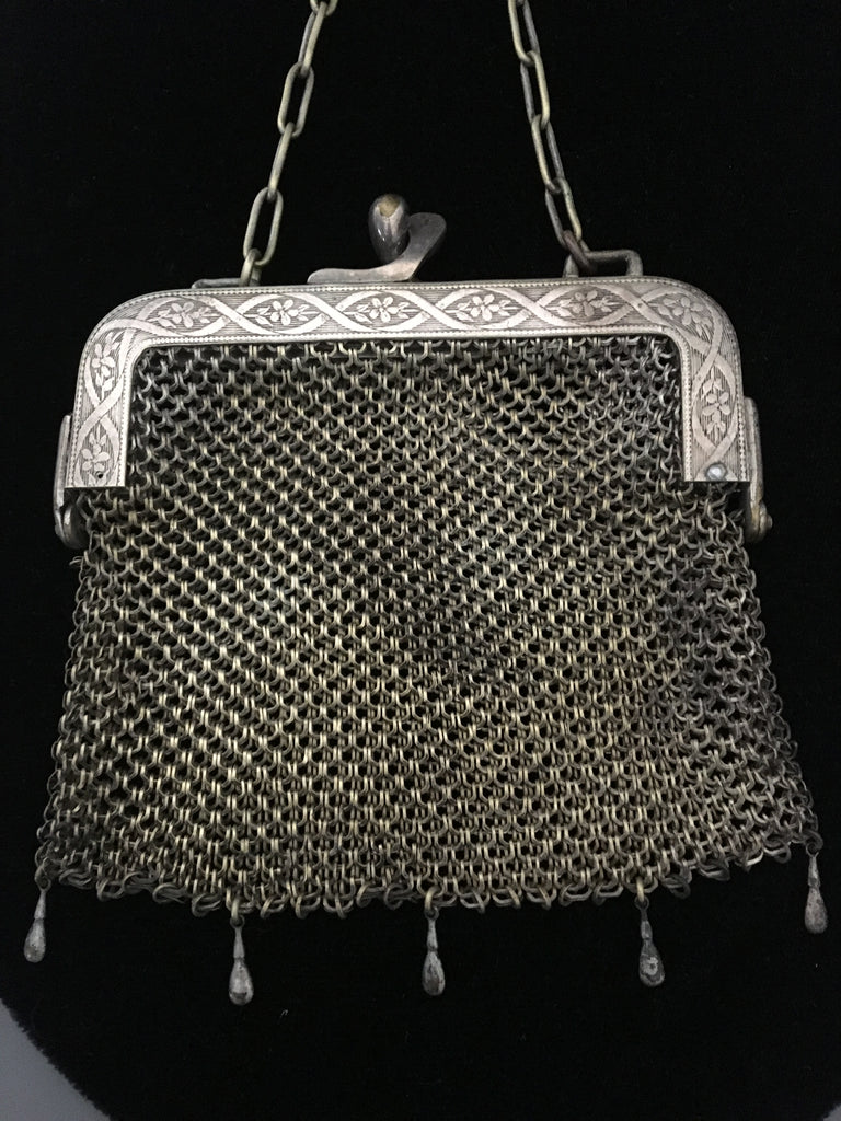 Vintage German Silver Vintage Mesh Purse made by HHC Co.