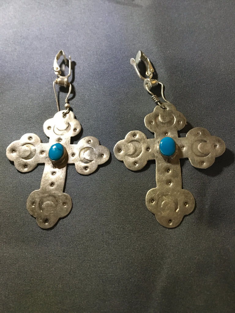 Lovely set of Sterling Silver and Turquoise Earring Crosses