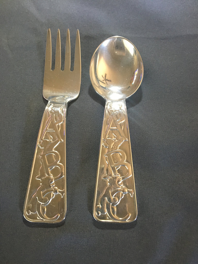 Tiffany & Co. Sterling Silver ABC Bears Spoon and Fork Set