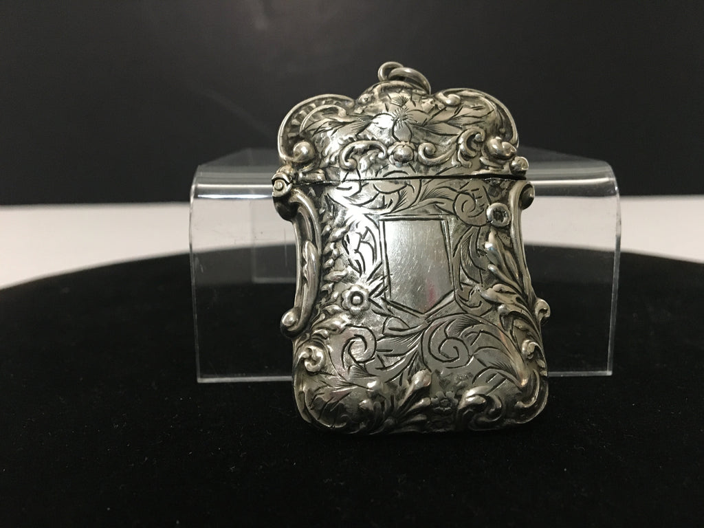 Vintage Match Safe Repousse Scroll Design in ALBO Silver