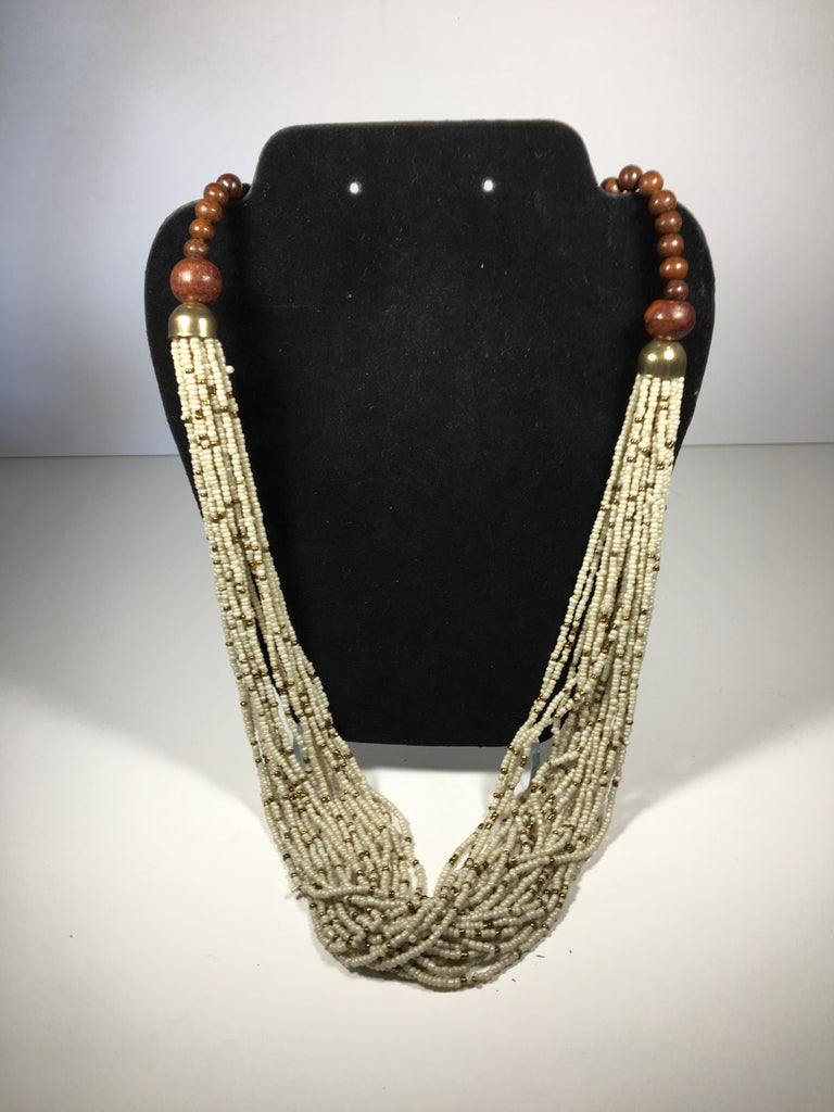 Beautiful White and Gold Beaded Multi-Strand Necklace
