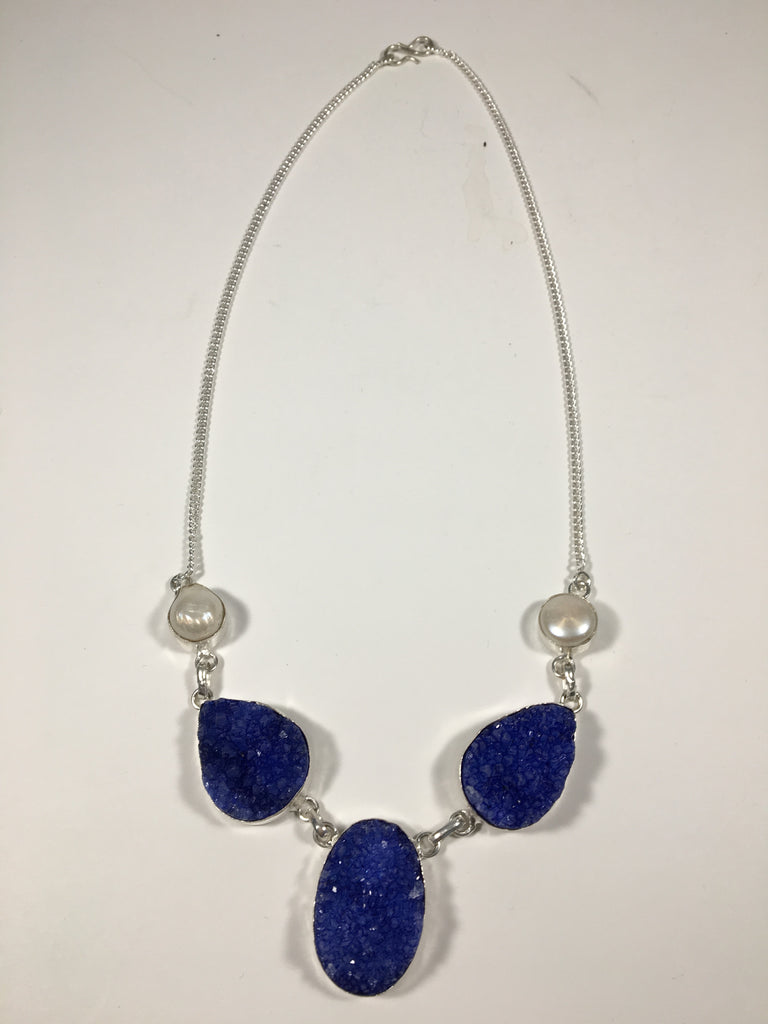 Blue Druzy Sterling Silver Necklace with River Pearls