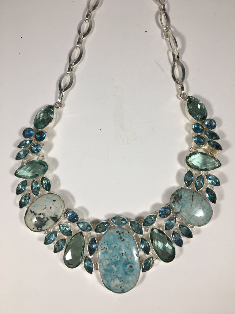 Beautiful Turquoise & Faux Blue Topaz Necklace w/ Sterling Silver fittings
