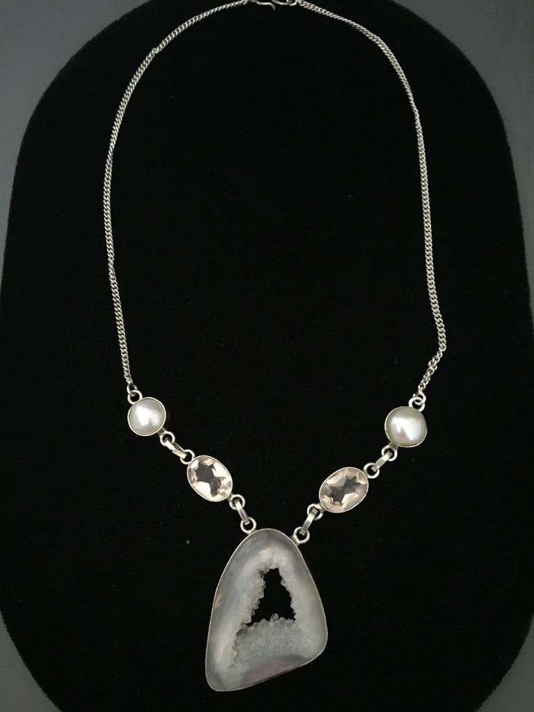 White Druzy Necklace with River Pearls
