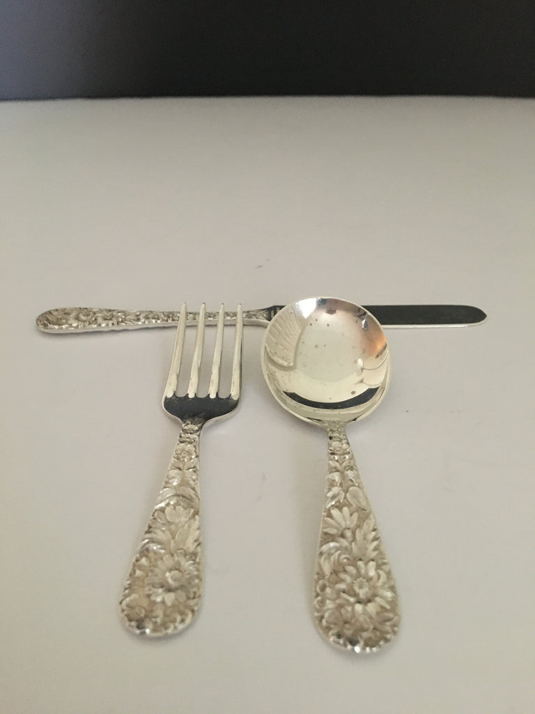 Vintage Sterling Silver Infant Utensil Set made by S. Kirk
