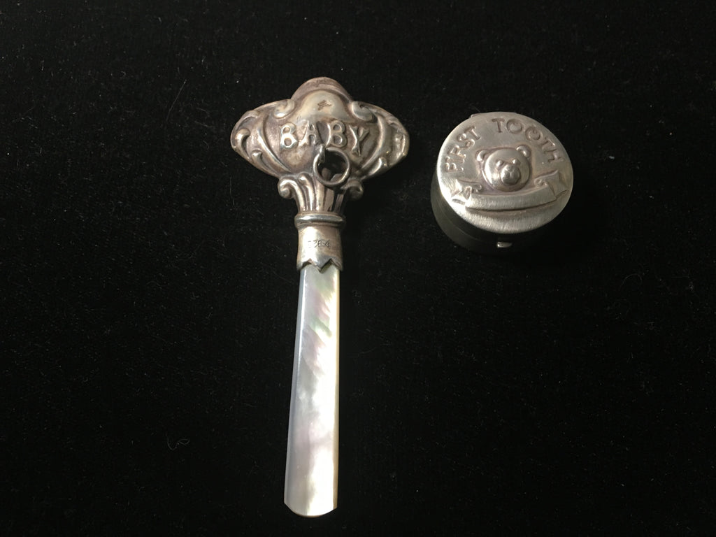Vintage Baby Rattle and Sterling Silver First Tooth Box