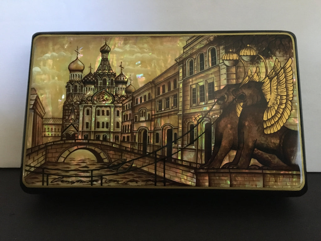 "Beautiful Russian Fedoskino Lacquer Box "" White Nights of St. Petersburg"""