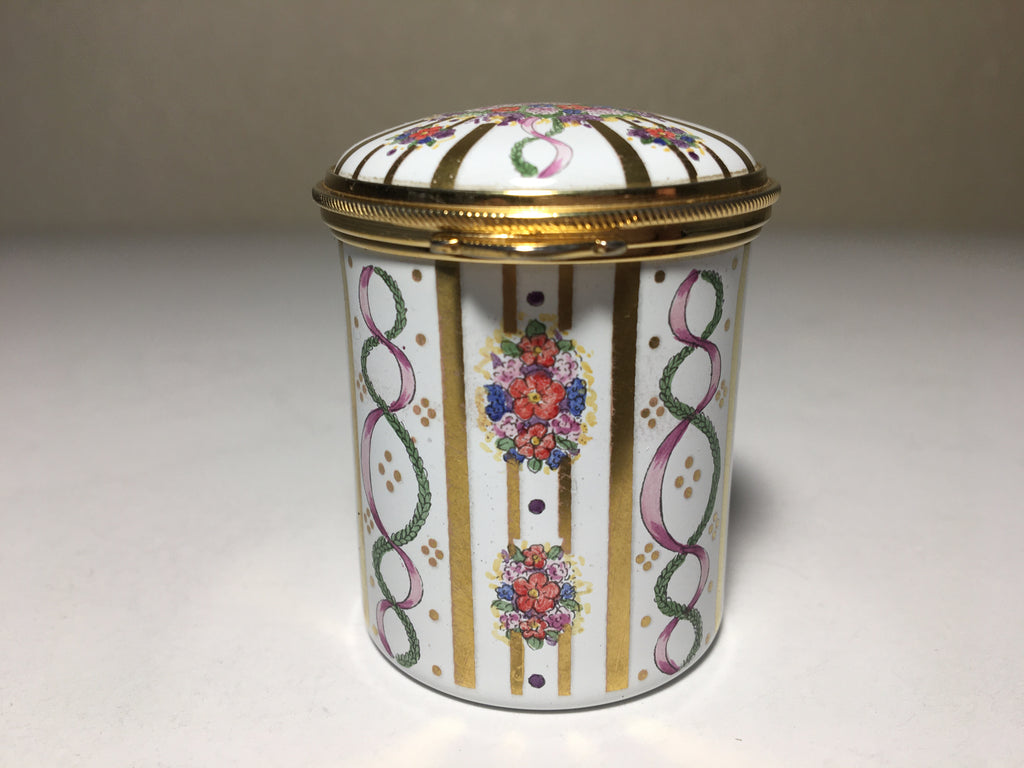 Staffordshire Enamel Pill Box - Hand Painted Floral Motif