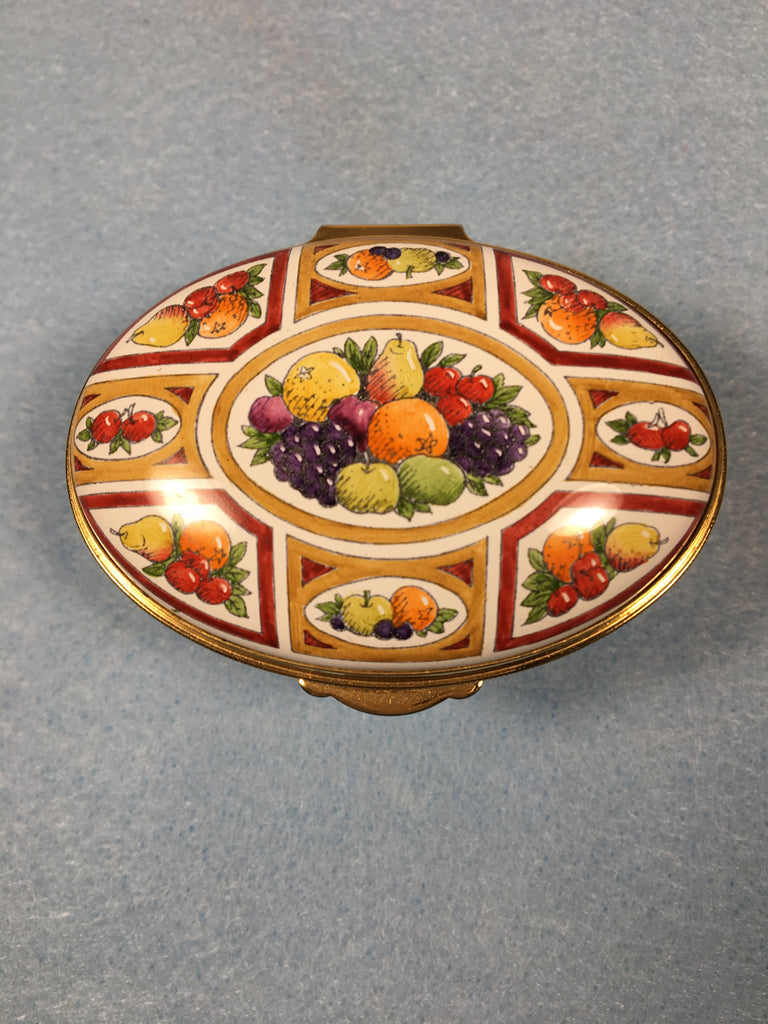 Staffordshire Enamel Pill Box - Hand Painted Fruit Design