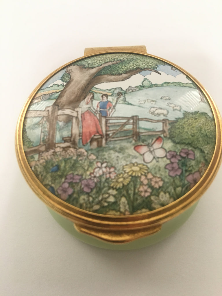Franklin Mint English Enamel Trinket/Pill Box - The Poetry of Love
