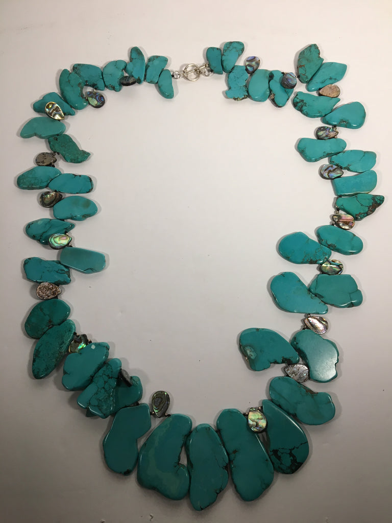 Polished Slab Turquoise Necklace with Abalone Shell Spacers