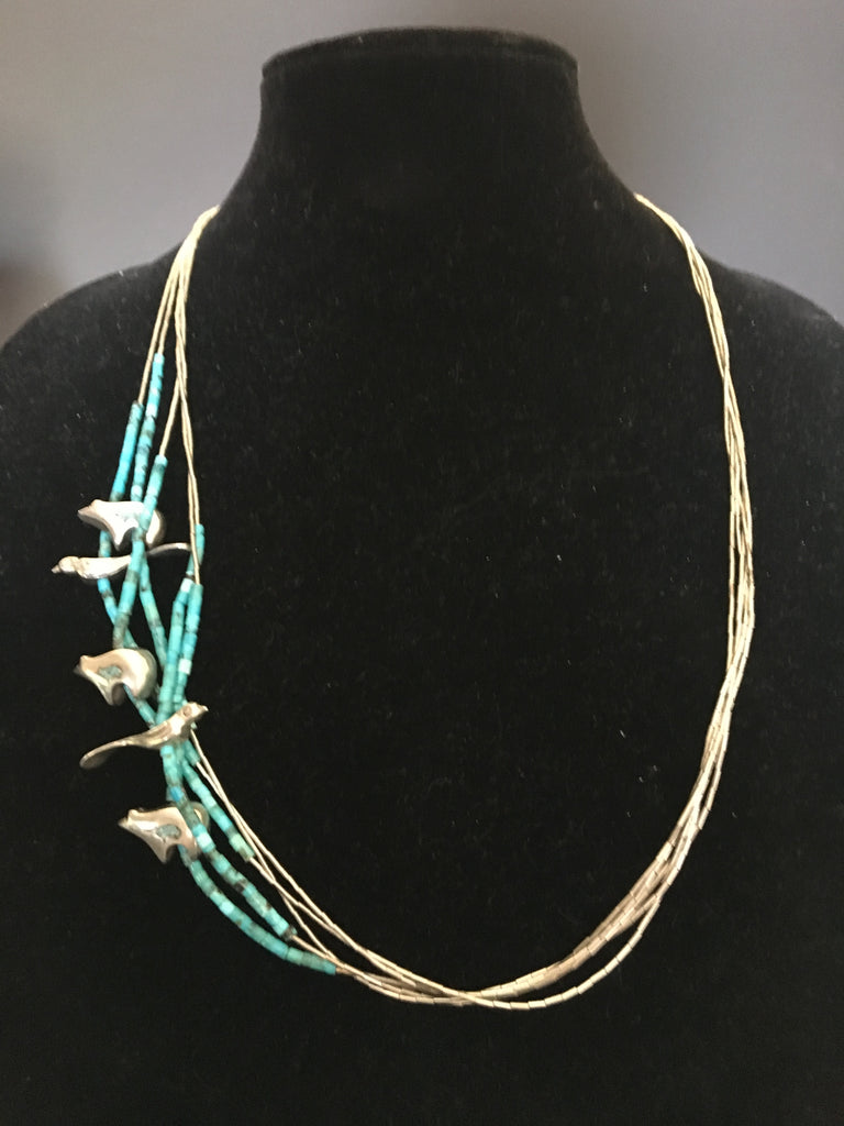 Beautiful Sterling Silver and Turquoise Navajo Heishi/Fetish Strand Necklace