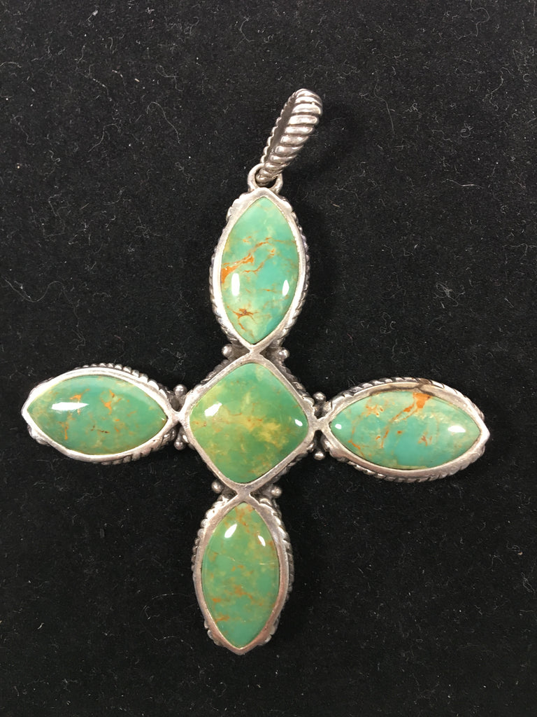 Sterling Silver Cross with Beautiful Green Turquoise Stones