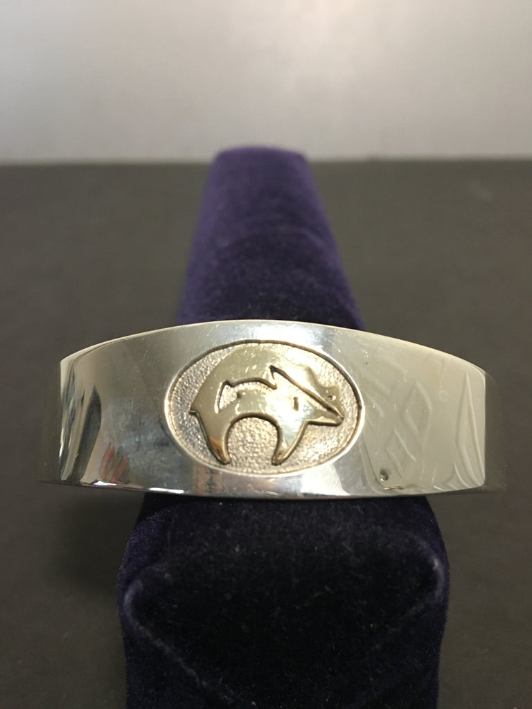 Gorgeous Sterling Silver and 14K Gold Cuff Buffalo Bracelet by MM Rogers