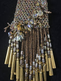 Beautiful Beaded Pouch Necklace w/ Brass Chimes