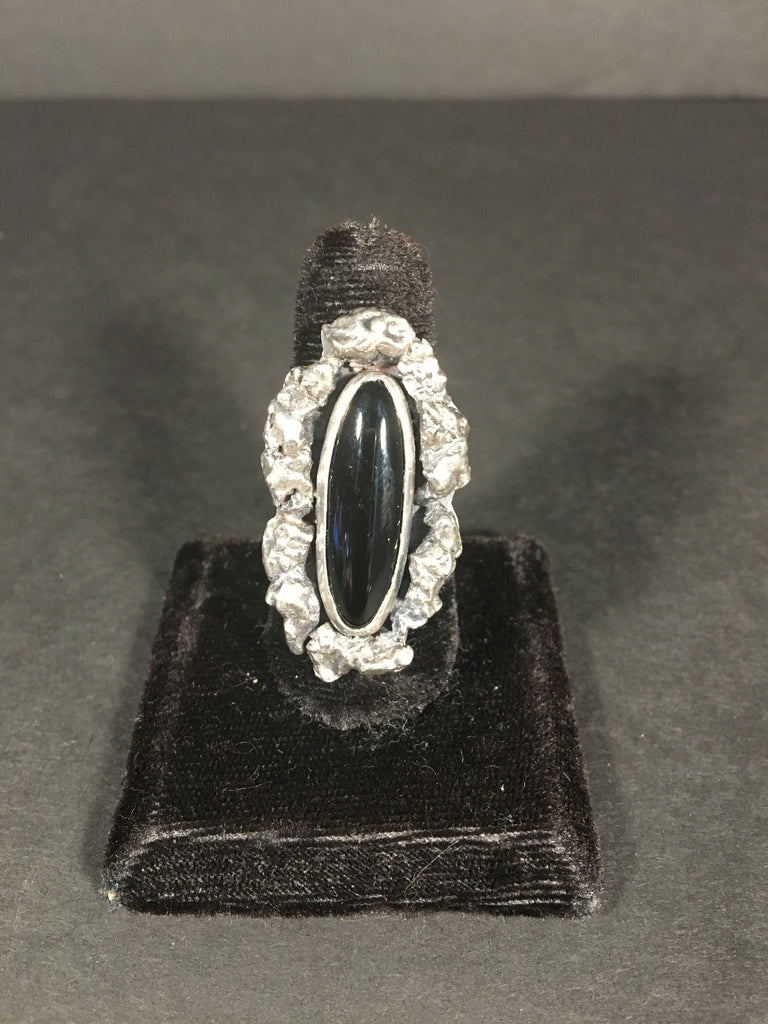 Beautiful Black Onyx and Sterling Silver Ring by Navajo Artist Jimmy Secotero