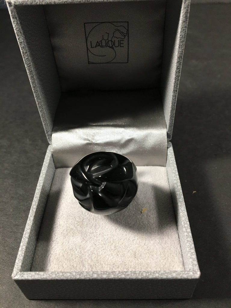 Exquisite Lalique Black Noir Crystal Ring in Original Box