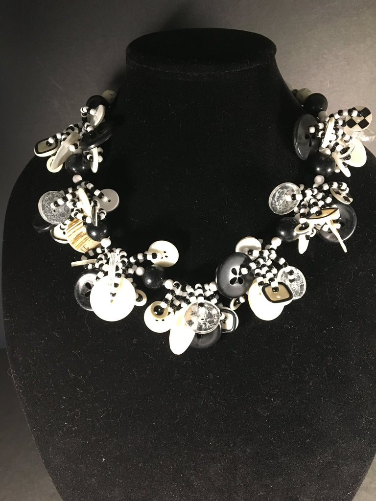 Black and White Handmade Button Necklace