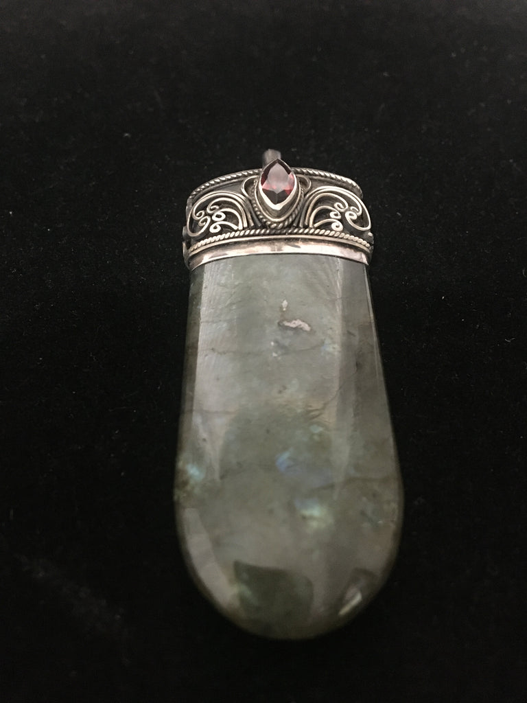 Lovely Labradorite Pendant with Sterling Silver Cap and a Garnet