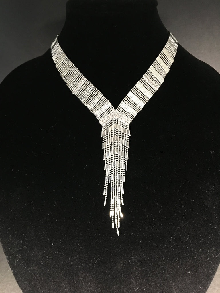 Silver Beaded Necklace Made by Natasha