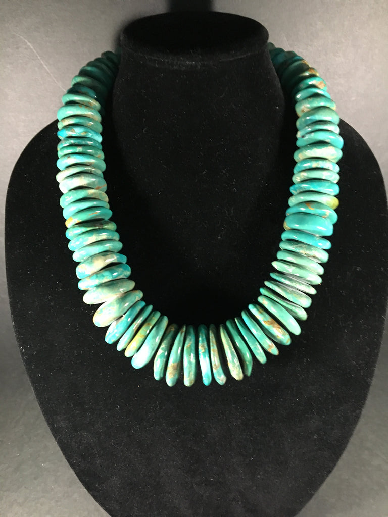 Awesome Ma'anshan Turquoise Necklace w/ Sterling Silver Clasp