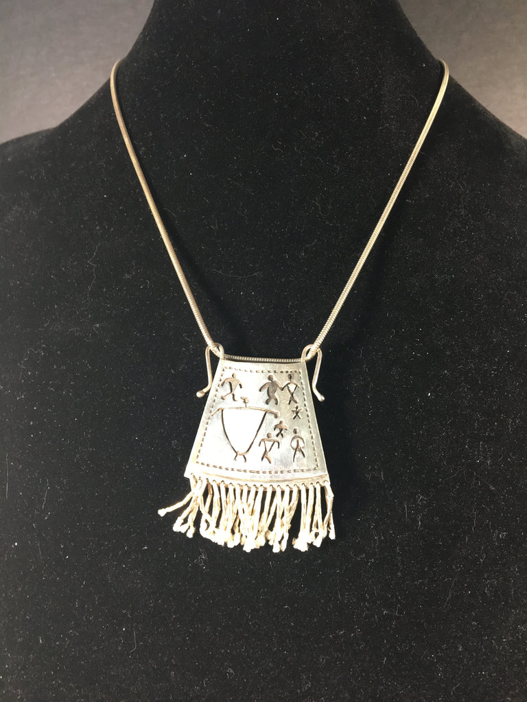 Darling Sterling Silver Parfleche ( Indian Bag ) Necklace by Tchin