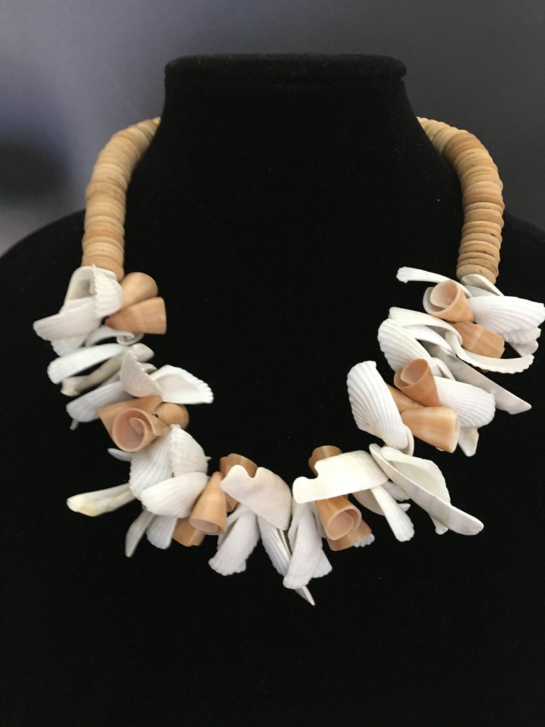 Wonderful Shell and Wooden Disc Necklace