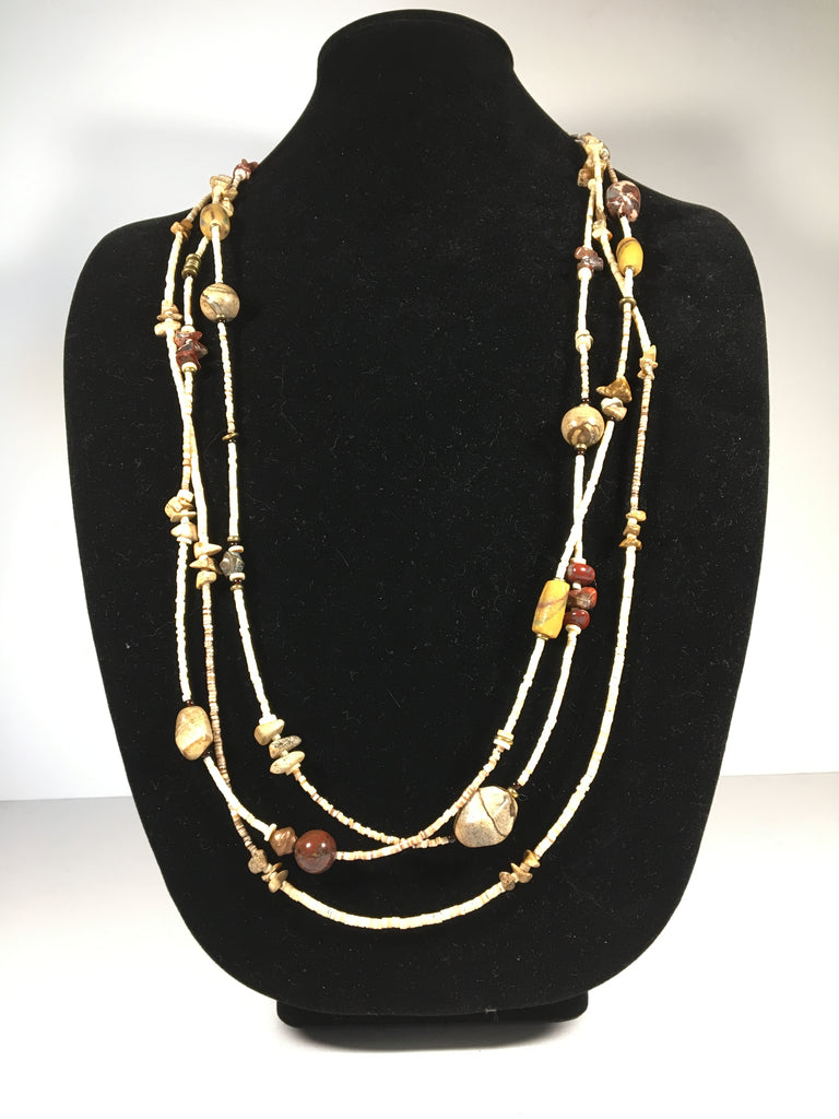 3 Strand Shell Bead and Polished Stones Heishi Necklace