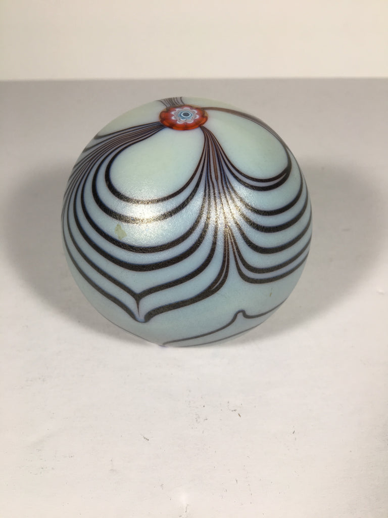 Vintage Light Blue Paperweight with Burgandy Ribbon Design