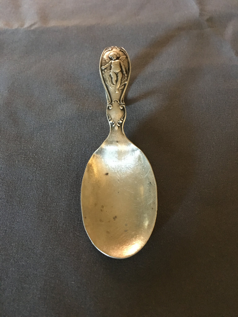 Vintage Sterling Silver Baby Spoon with Cherub